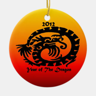 Dragón chino del Año Nuevo 2012 Adorno Navideño Redondo De Cerámica