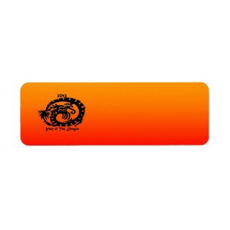 Dragón chino del Año Nuevo 2012 Etiqueta De Remite