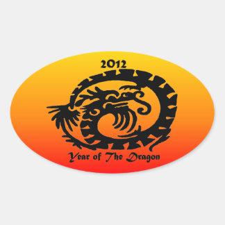 Dragón chino del Año Nuevo 2012 Pegatina De Oval Personalizadas