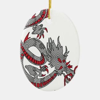 Dragón chino del Año Nuevo Adorno Navideño Ovalado De Cerámica
