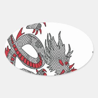 Dragón chino del Año Nuevo Pegatina Ovalada