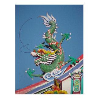 Dragón chino del templo postal