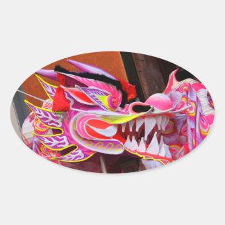 Dragón chino calcomanías de ovaladas