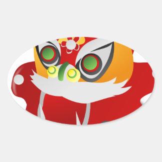dragón chino pegatina ovalada