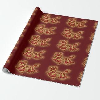 Dragón chino rojo del festival papel de regalo