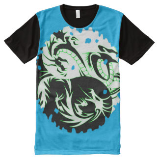 Dragón colorido de Yin Yang Camisetas Con Estampado Integral