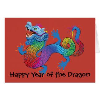Dragón colorido en el Año Nuevo chino rojo C de Tarjeta