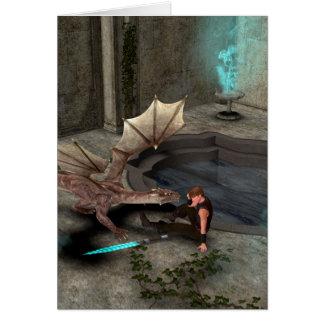 Dragón con su compañero tarjeton