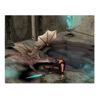 Dragón con su compañero tarjeta postal
