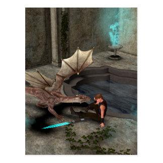 Dragón con su compañero postales