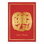Dragón de la felicidad/Phoenix dobles chinos RSVP Invitación 8,9 X 12,7 Cm