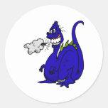 Dragón de la mala respiración etiqueta redonda