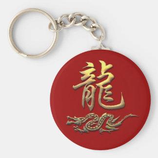 Dragón de oro del zodiaco chino llavero redondo tipo chapa