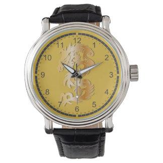 Dragón de oro en amarillo relojes de mano