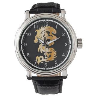 Dragón de oro en negro relojes