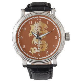 Dragón de oro en rojo relojes de pulsera