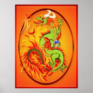Dragón del Año Nuevo y poster del óvalo del símbol