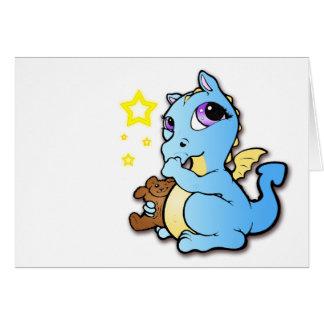 Dragón del bebé que chupa su pulgar - azul - tarjeta de felicitación