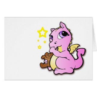 Dragón del bebé que chupa su pulgar - rosa - tarjeta de felicitación