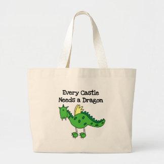 Dragón del castillo bolsa de tela grande