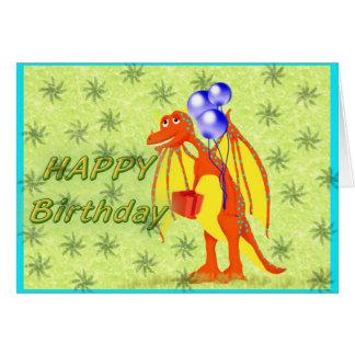Dragón del dibujo animado del cumpleaños tarjeta