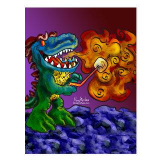 Dragón del dinosaurio que cocina las melcochas con postal