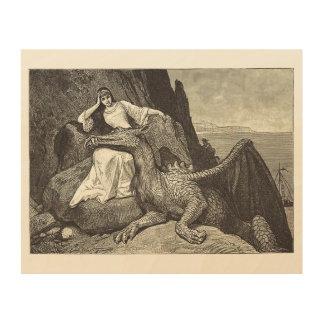 Dragón del mascota y la doncella impresión en madera