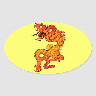 Dragón del oro y del naranja por Año Nuevo chino Pegatina Ovalada
