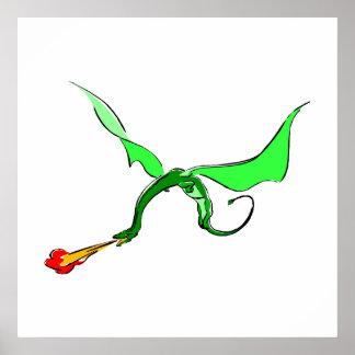 Dragón del respiradero del fuego de la fantasía posters
