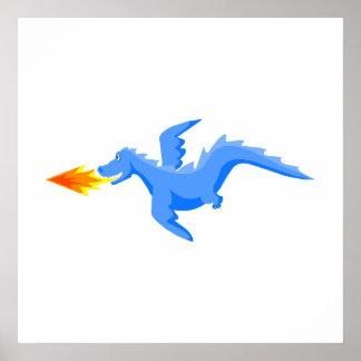Dragón del respiradero del fuego del vuelo posters