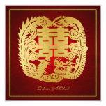 Dragón doble chino de la felicidad/boda de Phoenix Comunicado Personalizado