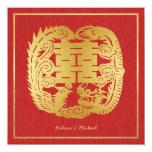 Dragón doble chino de la felicidad/boda de Phoenix Invitaciones Personales
