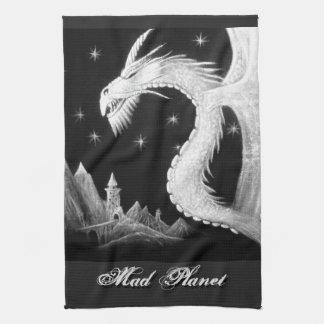 Dragón en la pintura de la noche toalla de cocina
