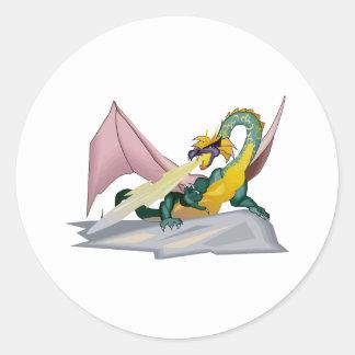 Dragón enojado del respiradero del fuego de la pegatina redonda