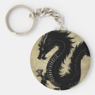 Dragón negro llavero redondo tipo chapa