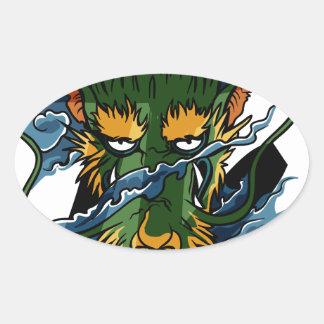 Dragón Pegatina Oval