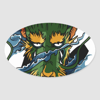 Dragón Pegatina Ovalada