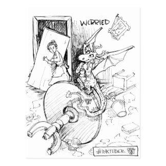 Dragón preocupante postal