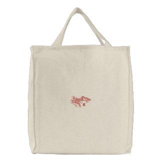 Dragón rojo bolsa de tela bordada