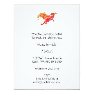 Dragón rojo con alas invitación 10,8 x 13,9 cm