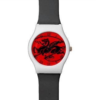 Dragón rojo mítico, año del diseño del dragón relojes de mano