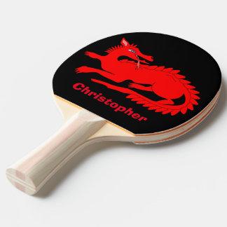 Dragón rojo personalizado pala de ping pong
