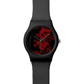 Dragón rojo relojes de pulsera