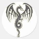 Dragón tribal etiquetas redondas