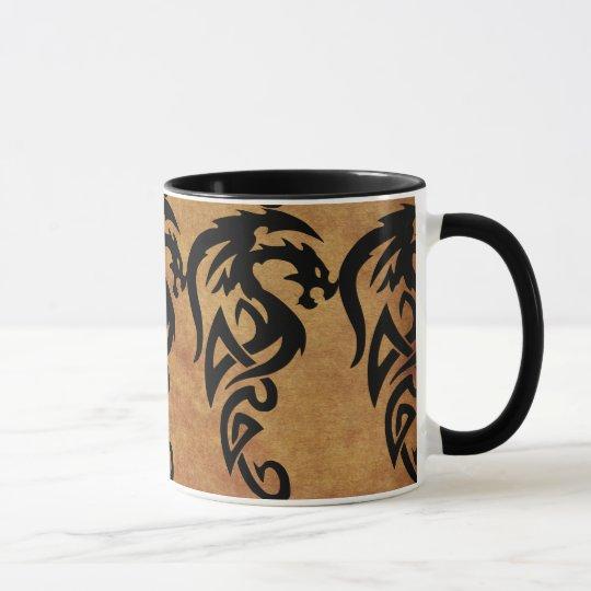 Dragón tribal mítico, año del diseño del dragón taza