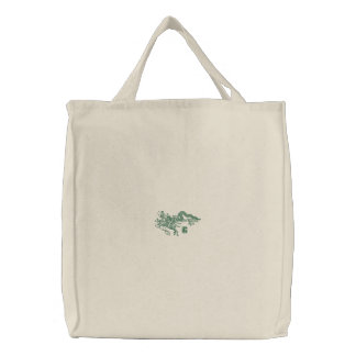 Dragón verde bolsa de tela bordada