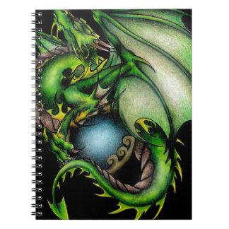 Dragón verde Circle.jpeg Libro De Apuntes Con Espiral