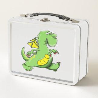 Dragón verde del dibujo animado que camina en sus