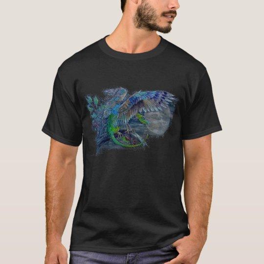 Dragón verde del pájaro (diseño oscuro) camiseta