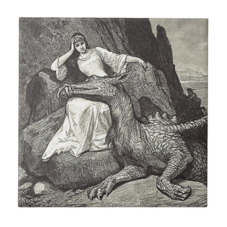 Dragón y doncella del mascota azulejo de cerámica